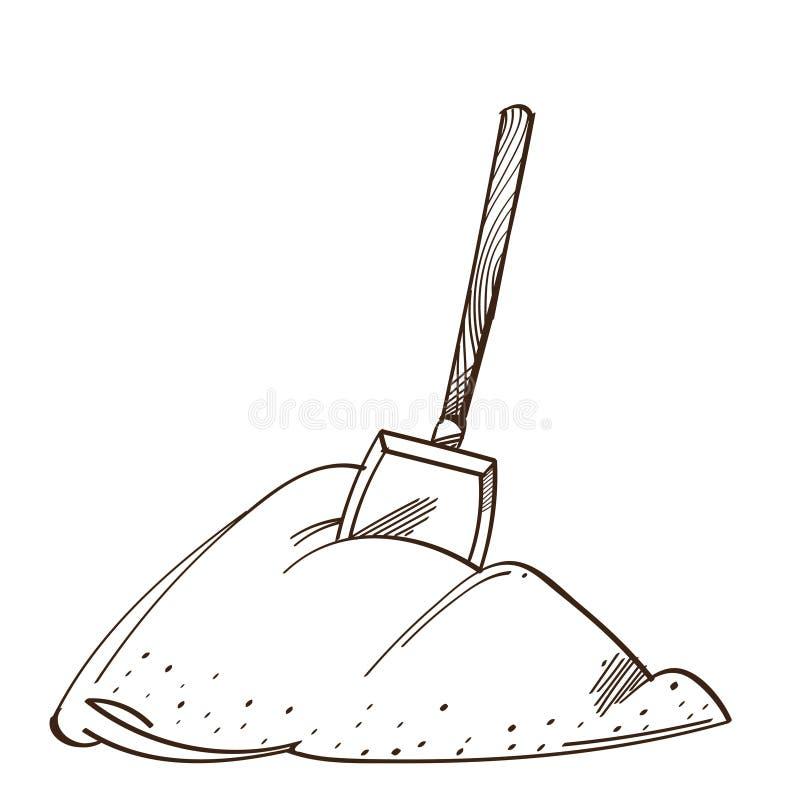Pala monocromática del vector en una pila de nieve Rueda dentada ilustración del vector