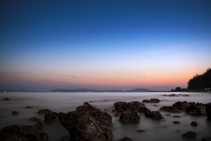 Pala-Strand wenn Sonnenuntergang lizenzfreie stockfotos