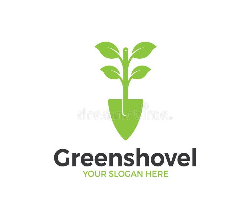 Pala verde Logo Template illustrazione di stock