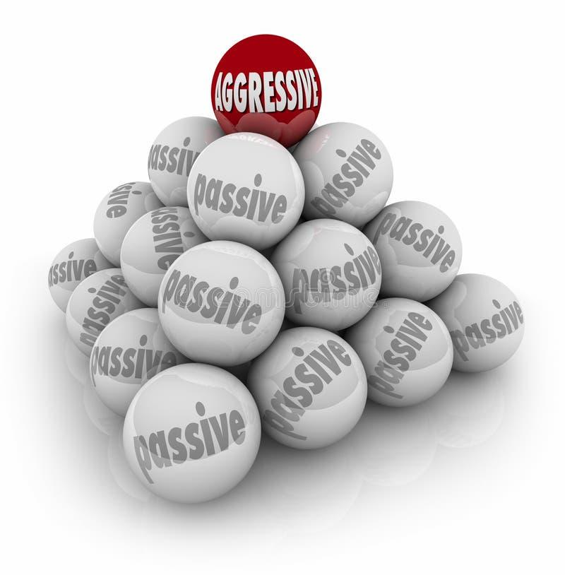 Palabra agresiva encima del ganador resuelto intrépido de la pirámide pasiva stock de ilustración