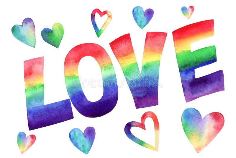 Palabra AMOR del arco iris de la acuarela Letras pintadas a mano Corazones multicolores Elementos del diseño para los carteles y  stock de ilustración