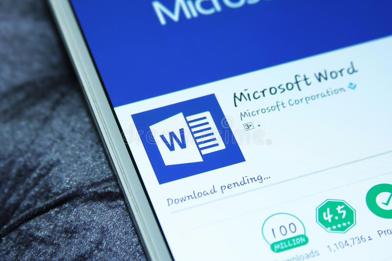 Palabra app móvil del Microsoft Office fotografía de archivo