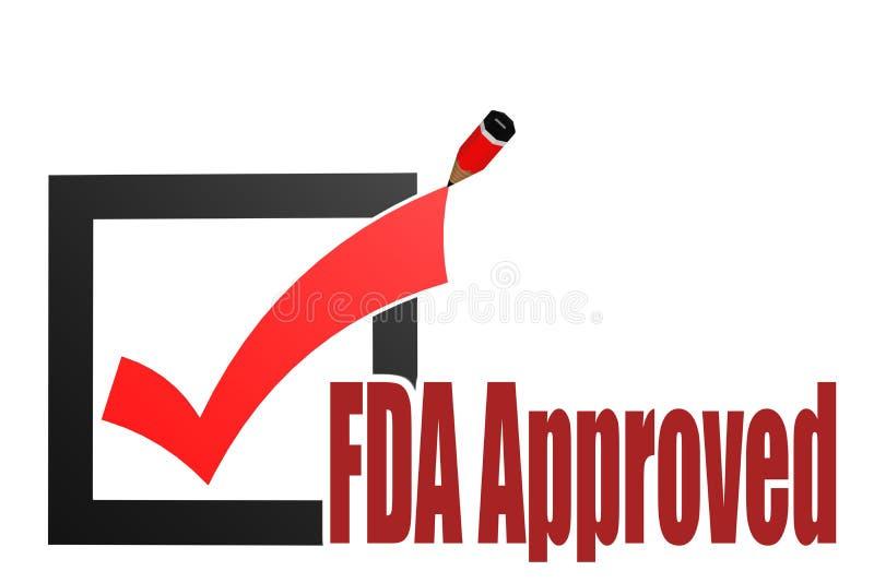 Palabra aprobada por la FDA con la marca de verificación y el lápiz ilustración del vector