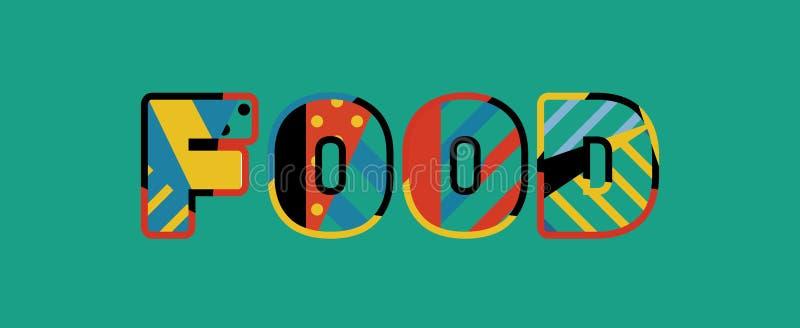 Palabra Art Illustration del concepto de la comida ilustración del vector