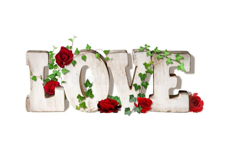 Palabra Art Love con las rosas libre illustration
