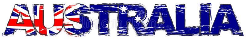 Palabra AUSTRALIA con la bandera nacional australiana debajo de ella, mirada apenada del grunge stock de ilustración