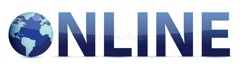 Palabra azul en línea con el globo libre illustration