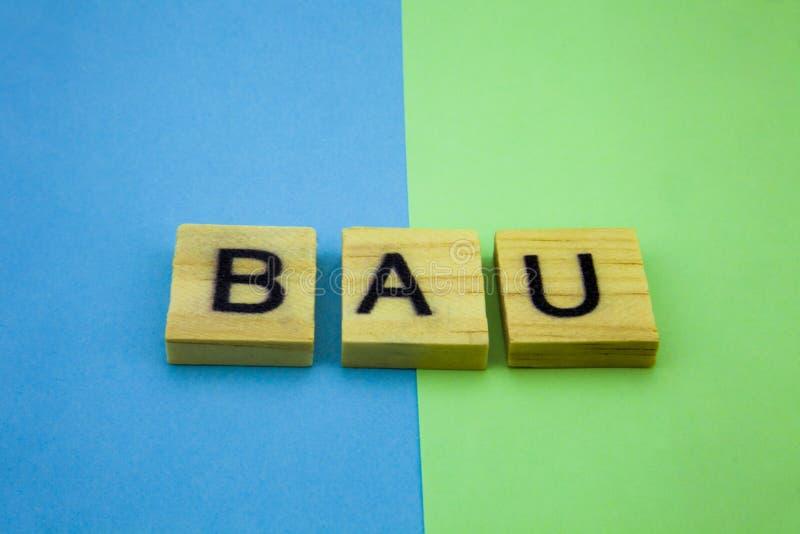 Palabra BAU en el fondo verde y azul Negocio como imagen usual del concepto foto de archivo libre de regalías