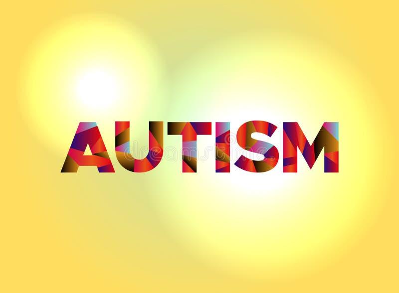 Palabra colorida Art Illustration del concepto del autismo stock de ilustración