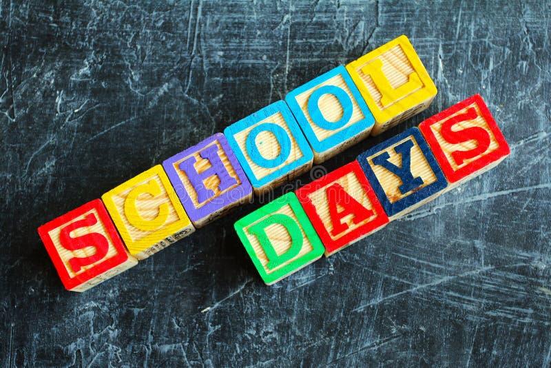 Palabra colorida de los días escolares de bloques de madera imagen de archivo libre de regalías