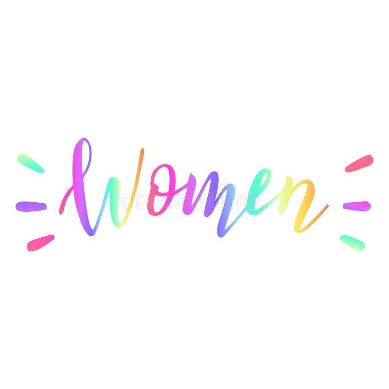 Palabra colorida exhausta de las mujeres de la mano Concepto de la diversidad Bandera que pone letras feminista Impresi?n de la c ilustración del vector
