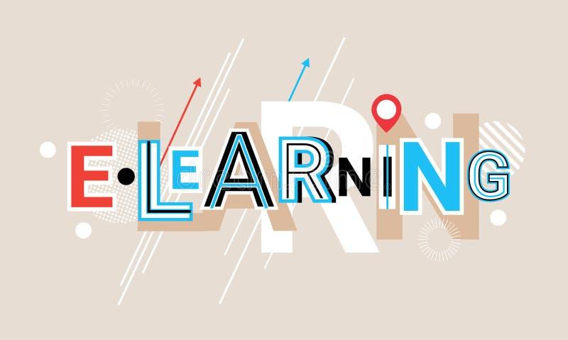 Palabra creativa de la educación en línea del Elearning sobre bandera geométrica abstracta del web del fondo de las formas libre illustration