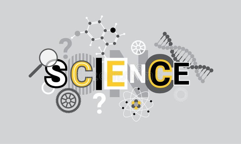 Palabra creativa de la investigación de la ciencia sobre bandera geométrica abstracta del web del fondo de las formas ilustración del vector