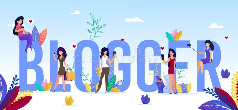 Palabra de blogger de Capital Letters y Chicas Pequeñas stock de ilustración