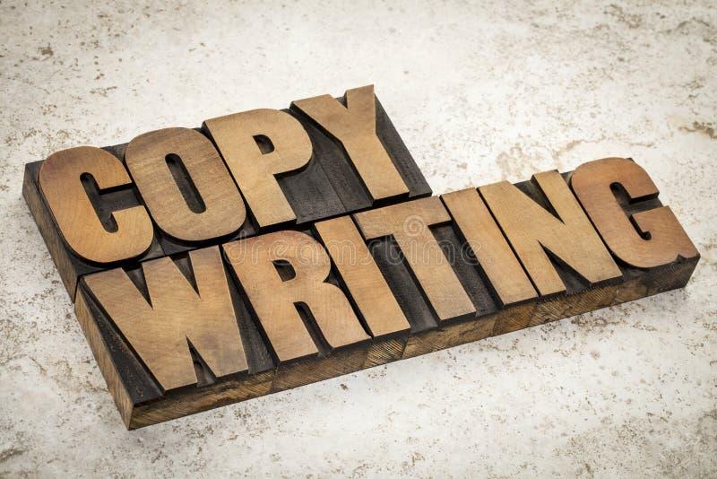 Palabra de Copywriting en el tipo de madera imágenes de archivo libres de regalías