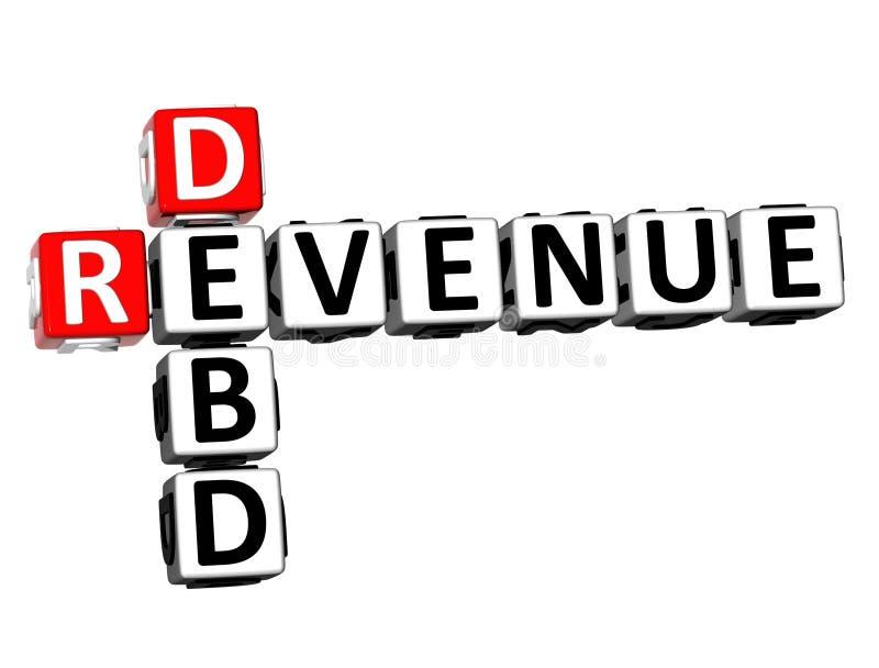 palabra de Debd de los ingresos del crucigrama de la representación 3D sobre el fondo blanco stock de ilustración