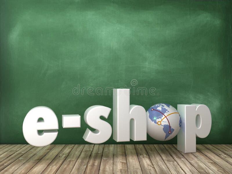 Palabra de E-SHOP 3D con el mundo del globo en fondo de la pizarra stock de ilustración