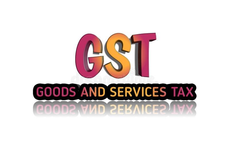Palabra de GST en el ejemplo 3d stock de ilustración