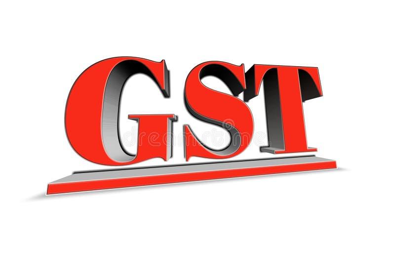 Palabra de GST en el ejemplo 3d ilustración del vector