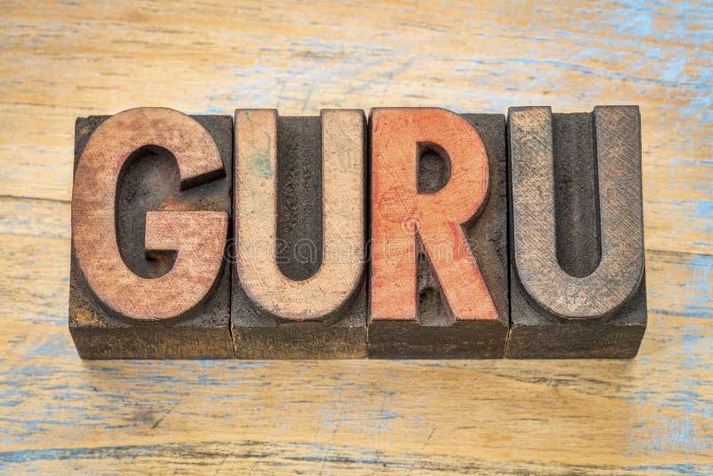 Palabra de Guru en el tipo de madera imagen de archivo