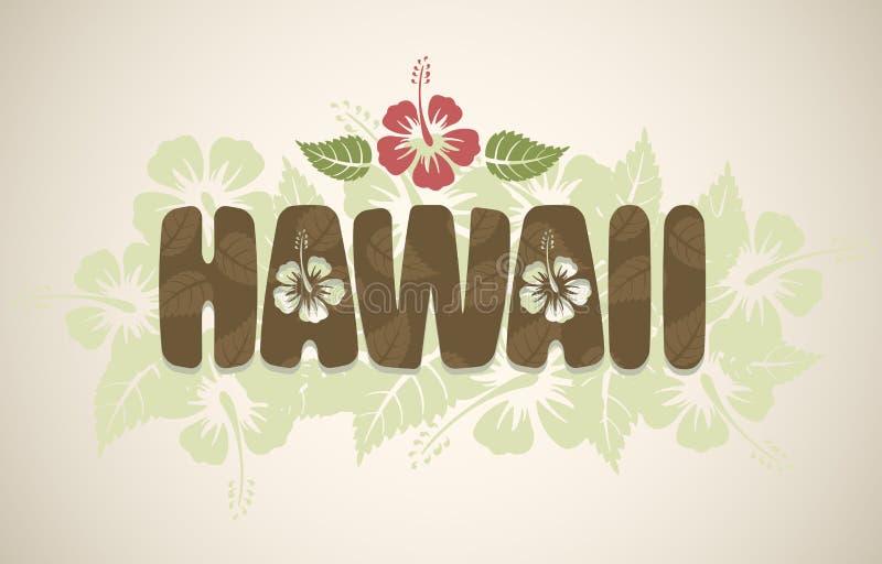 Palabra de Hawaii del vector con las flores del hibisco libre illustration
