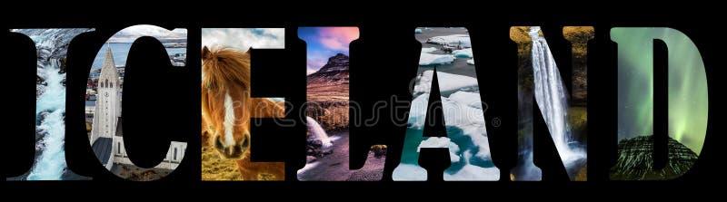 Palabra de Islandia - nombre de país con la postal del viaje del fondo libre illustration