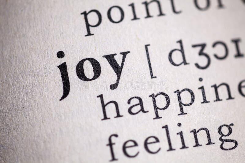 Palabra de la alegr?a fotografía de archivo libre de regalías