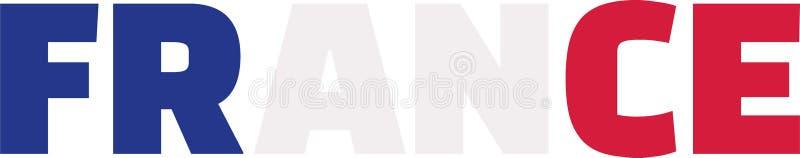 Palabra de la bandera de Francia stock de ilustración