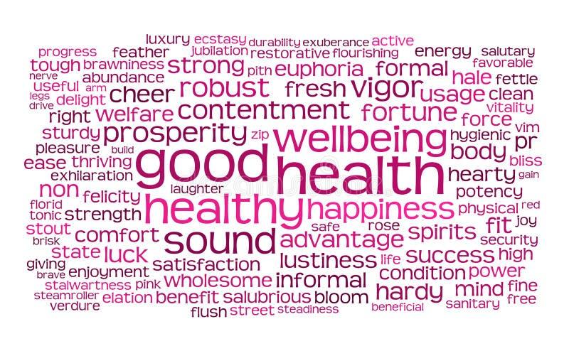 Palabra de la buena salud o nube de la etiqueta ilustración del vector
