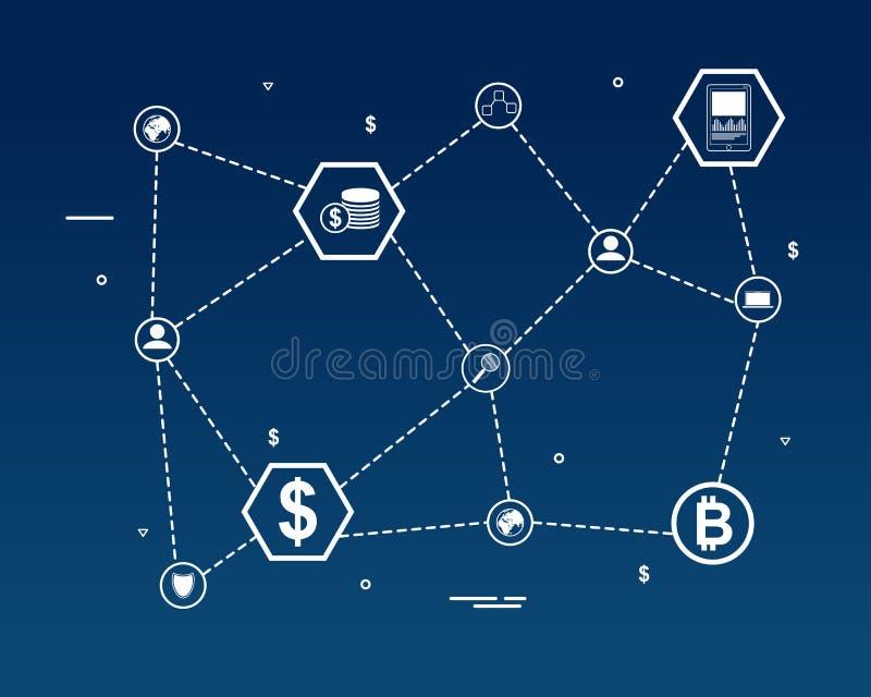 Palabra de la cadena de bloque con el icono stock de ilustración