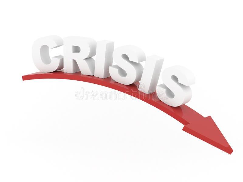 Palabra de la crisis en flecha roja stock de ilustración