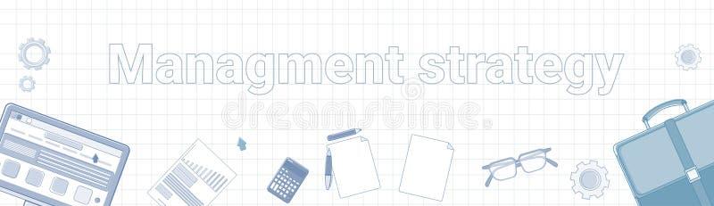 Palabra de la estrategia de gestión en concepto horizontal ajustado de la planificación de empresas de la bandera del fondo ilustración del vector
