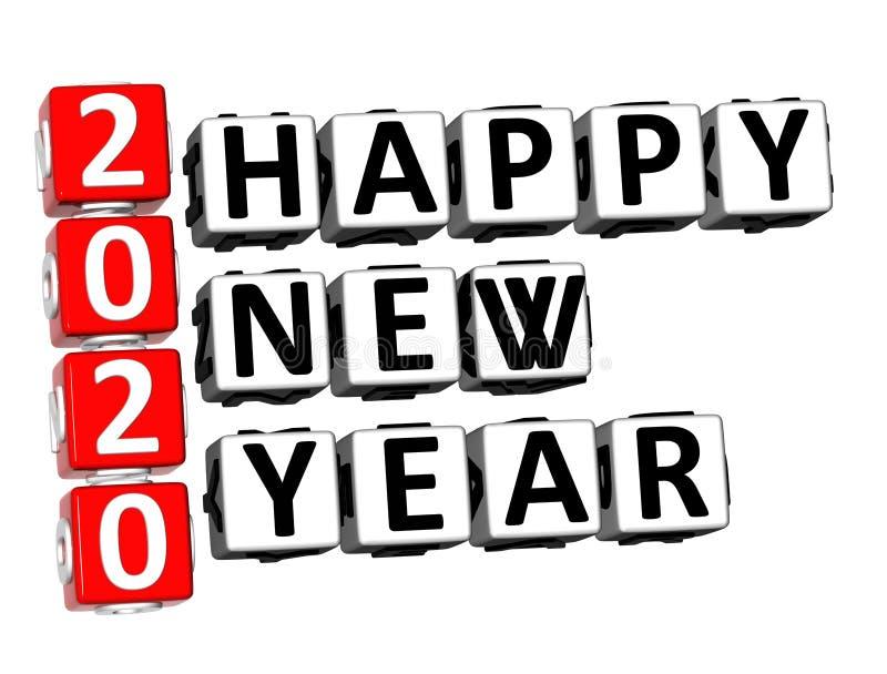 palabra de la Feliz Año Nuevo del crucigrama 2020 de la representación 3D sobre Backg blanco ilustración del vector