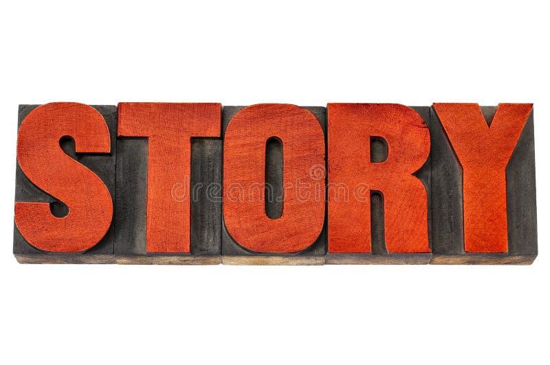 Palabra de la historia en tipo de madera de la prensa de copiar imagen de archivo libre de regalías