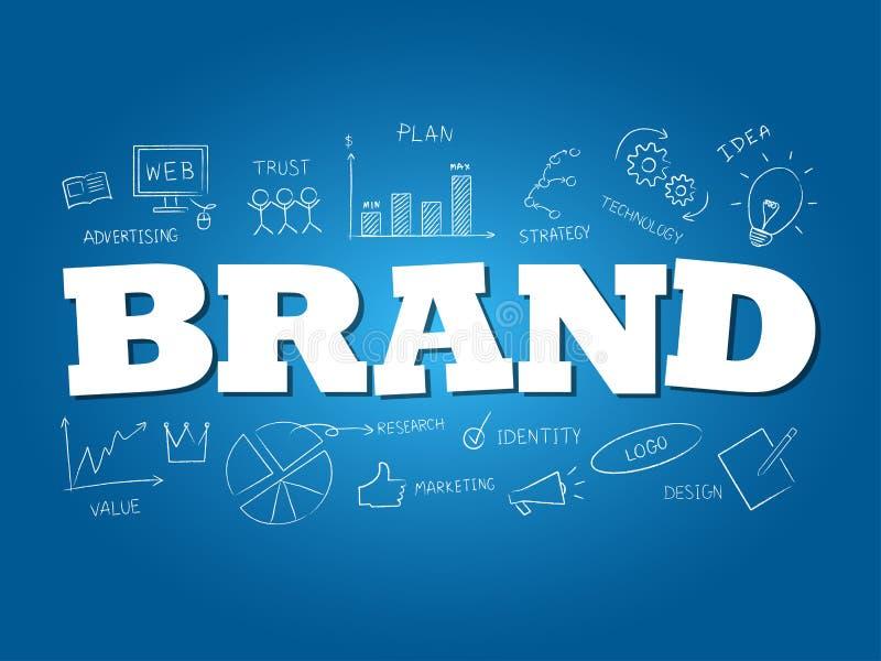 Palabra de la marca en fondo azul claro Ilustraci?n del vector libre illustration