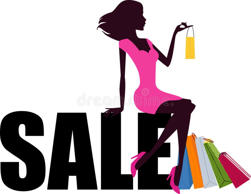 Palabra de la muchacha y de la venta de compras stock de ilustración