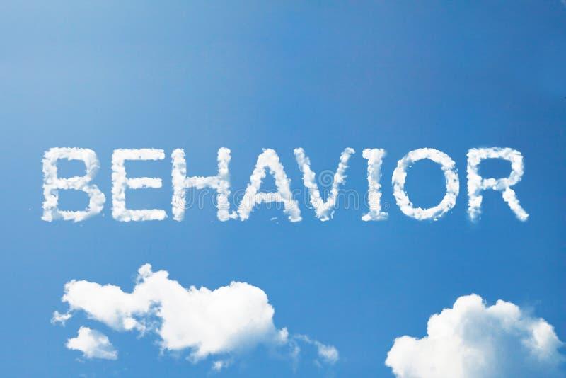 Palabra de la nube del comportamiento en el cielo foto de archivo libre de regalías