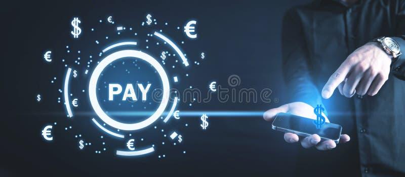 Palabra de la paga con símbolos de una moneda M?rketing en l?nea Concepto de los pagos imagen de archivo