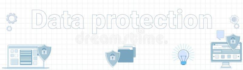 Palabra de la protección de datos en concepto en línea ajustado de la seguridad de la bandera horizontal del fondo libre illustration