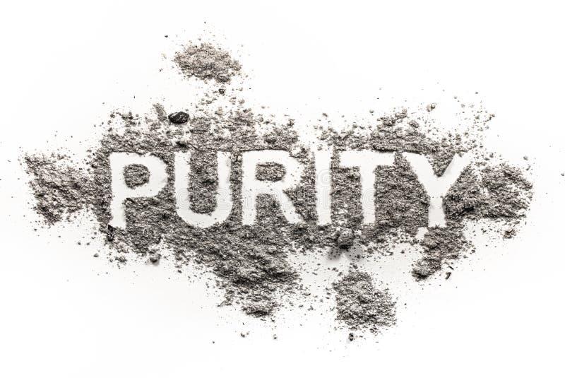 Palabra de la pureza escrita en la ceniza, polvo, suciedad foto de archivo