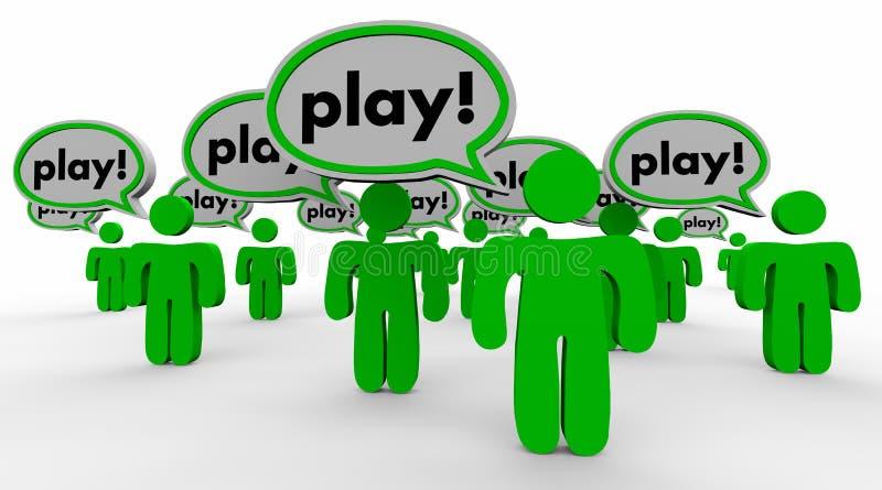 Palabra de la reconstrucción de la diversión de la gente de la burbuja del discurso del juego ilustración del vector