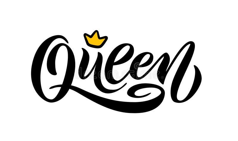 Palabra de la reina con la corona Ejemplo del vector del texto de las letras de la mano stock de ilustración