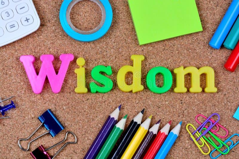 Palabra de la sabiduría en corcho fotos de archivo libres de regalías