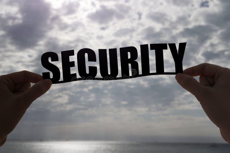Palabra de la seguridad de la silueta fotografía de archivo libre de regalías