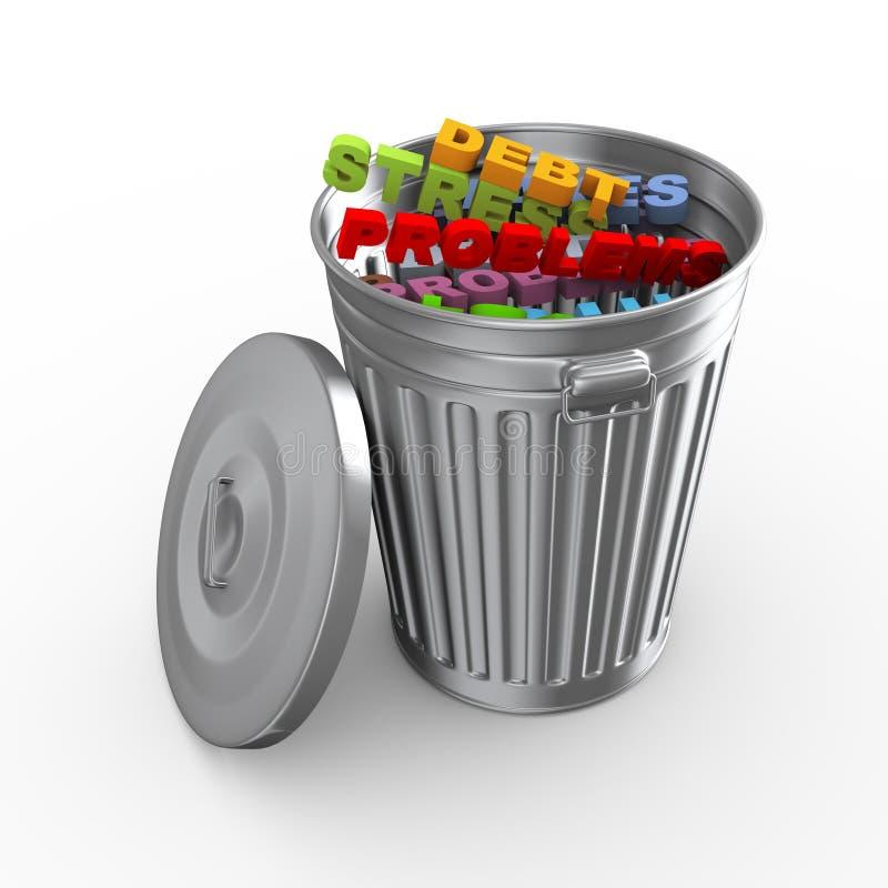 palabra de la tensión del compartimiento del bote de basura 3d stock de ilustración