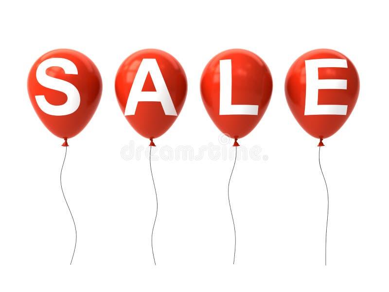 Palabra de la venta blanca en los globos rojos aislados en el fondo blanco ilustración del vector