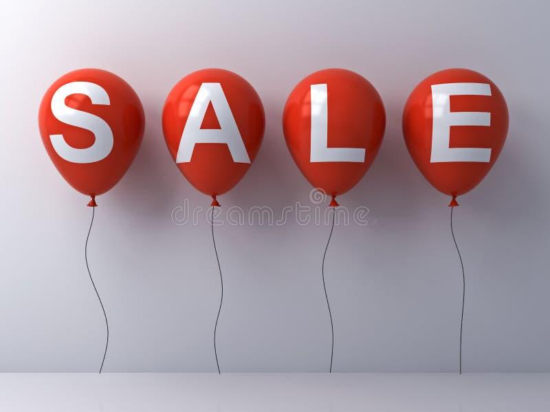 Palabra de la venta en los globos rojos en el extracto blanco del fondo de la pared libre illustration
