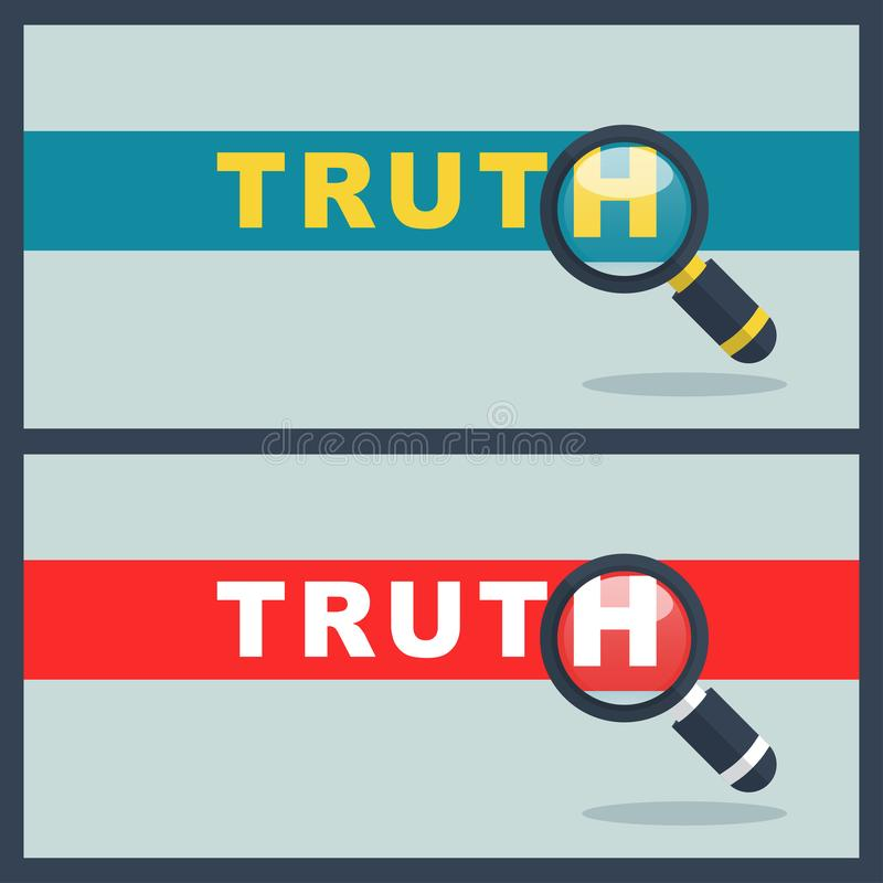 Palabra de la verdad con concepto de la lupa ilustración del vector
