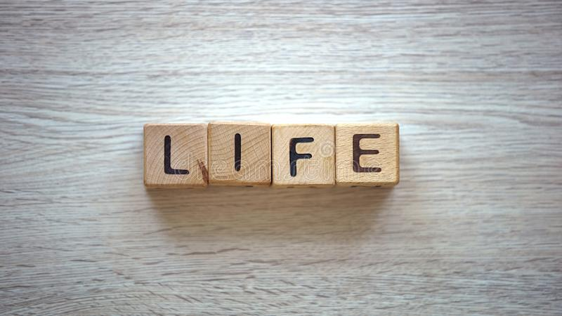 Palabra de la vida hecha de cubos, de los planes para el futuro, de la libertad y de la felicidad, ambición imágenes de archivo libres de regalías