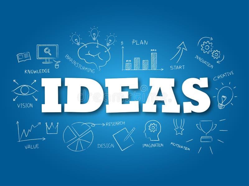 Palabra de las ideas en fondo azul claro Ilustraci?n del vector ilustración del vector
